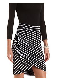 Striped & Ruched Tulip SKirt