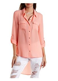 High-Low Button-Up Top