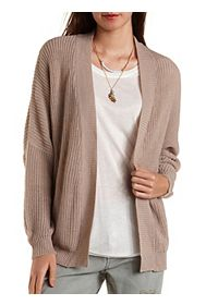 Dropped Shoulder Open Front Cardigan