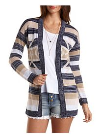 Striped Aztec Cardigan Sweater