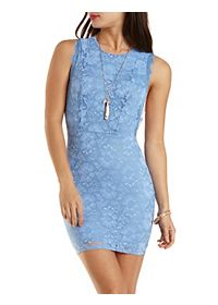 Lace Bodycon Dress with Open Sides