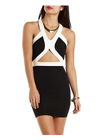 Ribbed Bodycon Dress with Cut-Out