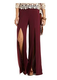 Slit Front High-Waisted Palazzo Pants