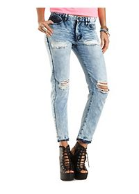 Destroyed & Cropped High-Waisted Jeans