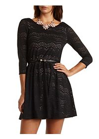 Belted Scalloped Lace Skater Dress