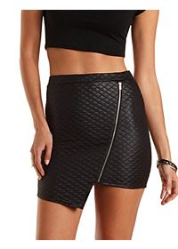 Quilted Asymmetrical Mini Skirt