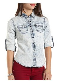 Acid Wash Button-Up Chambray Top