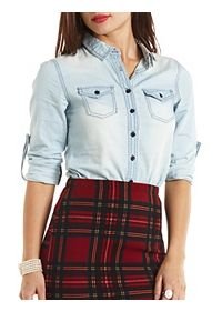 Top-Stitched Button-Up Chambray Top