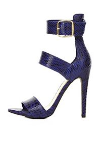 Three-Strap Snakeskin Single Sole Heels