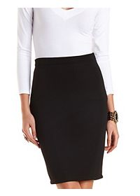 Ribbed Bodycon Pencil Skirt