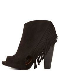 Qupid Fringe Cut-Out Peep Toe Booties