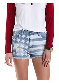 High-Rise Light Wash American Flag Shorts