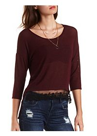 High-Low Ribbed Top with Lace