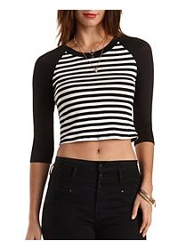 Striped Raglan Crop Top