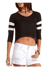 Cropped High-Low Varsity Tee