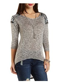 Beaded Shoulder Marled High-Low Top