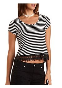 Lace-Trim Striped Swing Top