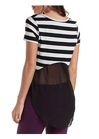 Striped Jersey Knit & Chiffon High-Low Top