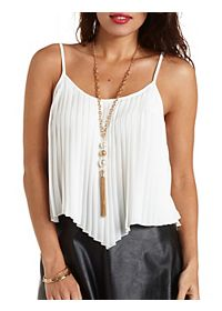 Pleated Chiffon Swing Tank Top