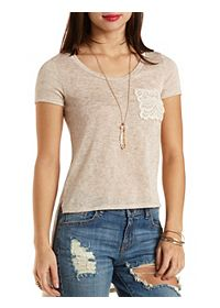 Crochet Pocket High-Low Tee