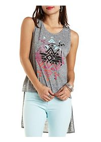 Rhinestone Palm Tree Graphic High-Low Tank Top