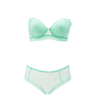 Dotted Mesh & Lace Bra & Panty Set