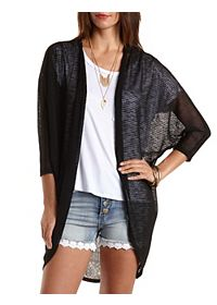 Chiffon & Sweater Knit Cocoon Cardigan