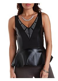 Jeweled Faux Leather Peplum Top