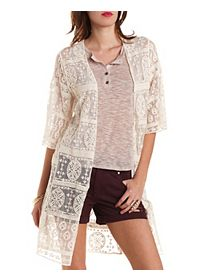 Embroidered Mesh Duster Kimono Top