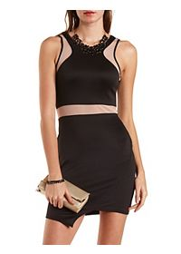 Mesh Cut-Out Asymmetrical Bodycon Dress