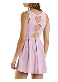 Heart Cut-Out Pleated Skater Dress