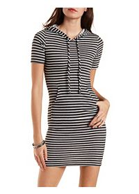 Hooded Striped Bodycon Dress
