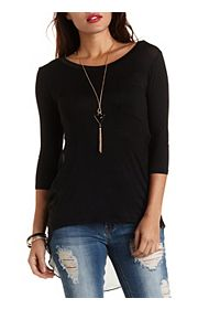 High-Low Chiffon Tunic Tee