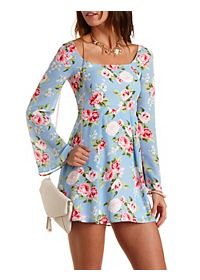 Bell Sleeve Floral Babydoll Dress