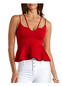 Strappy Plunging Peplum Top