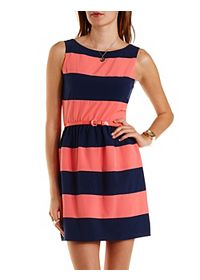 Belted Rugby Stripe Skater Dress