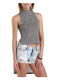 Ribbed High-Low Mock Neck Top