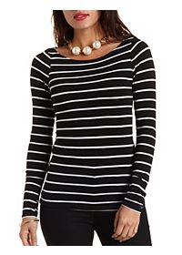 Long Sleeve Striped Boat Neck Tee