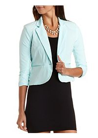 Cropped Single Button Blazer