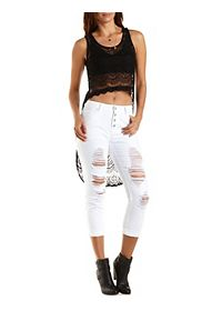 Extreme High-Low Lace Tank Top
