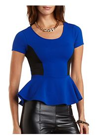 Caged Back Peplum Top