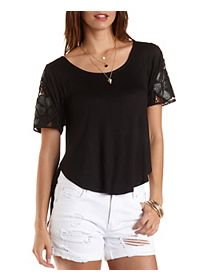 Lace Shoulder High-Low Tee