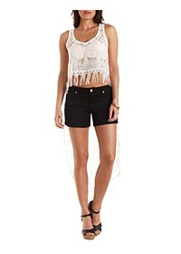 Extreme High-Low Lace Crop Top