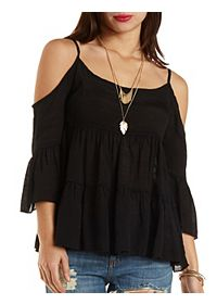 Tiered Cold Shoulder Peasant Top