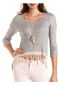 Crochet-Trim High-Low Ribbed Tee