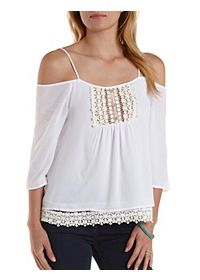 Crochet & Gauze Cold Shoulder Top