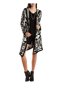 Tribal Print Hooded Duster Cardigan