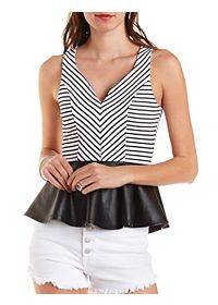 Striped Faux Leather Peplum Top