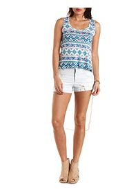 Print & Chiffon High-Low Tank Top