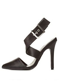 Qupid Crisscrossing Ankle Strap D'orsay Heels